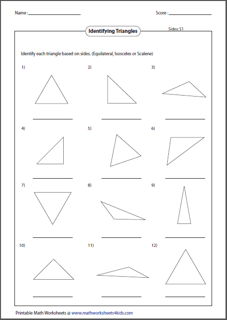 Triangles Worksheet