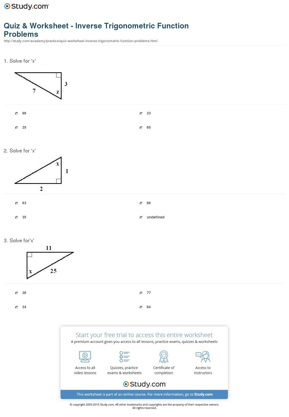 Trigonometric Functions Worksheet Free Worksheets Library