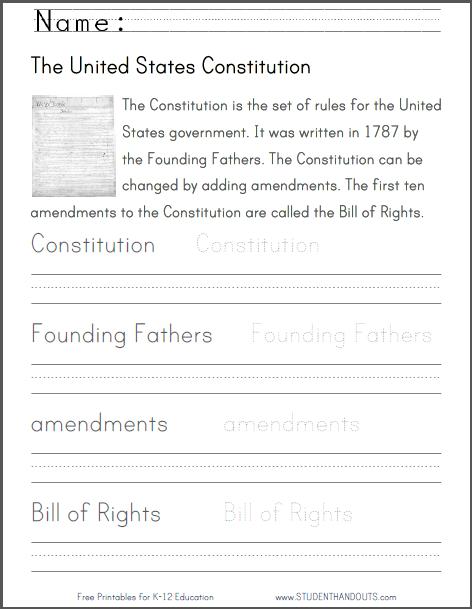 U S  Constitution Handwriting Practice Worksheet