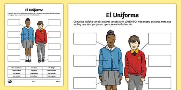 Uniform Worksheet   Activity Sheet, Worksheet