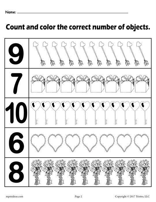 Valentine's Day  Count And Color  Worksheets