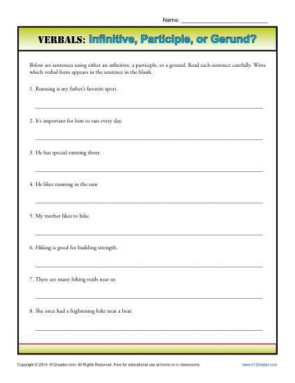 Verbals  Infinitive, Participle Or Gerund
