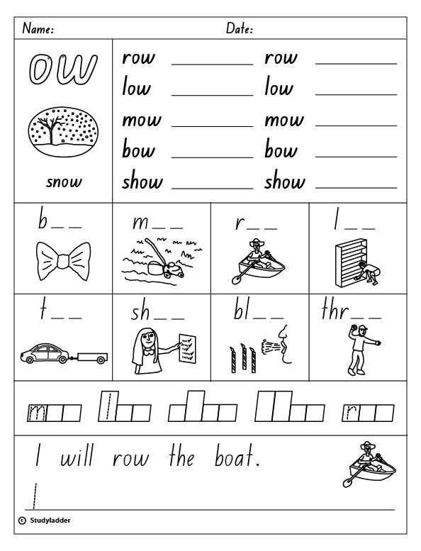 Vowel Digraph  Ow  As In Snow, English Skills Online, Interactive