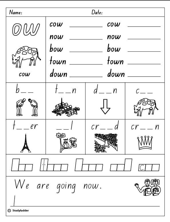 Vowel Digraph  Ow , English Skills Online, Interactive Activity