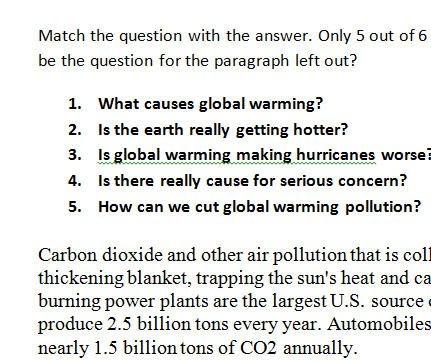 Warming Worksheet