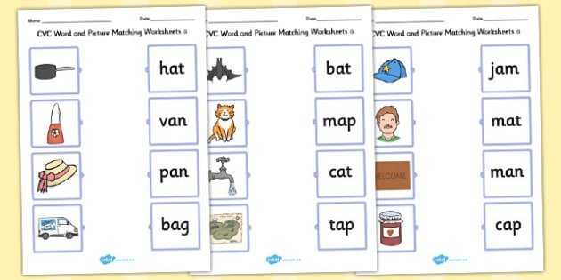 Word And Picture Matching Worksheets A