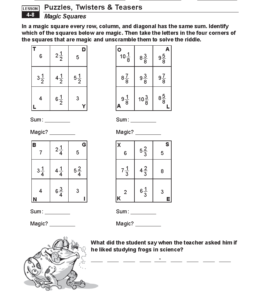 Worksheet 638826 Puzzle Time Math Worksheets Fun Fraction