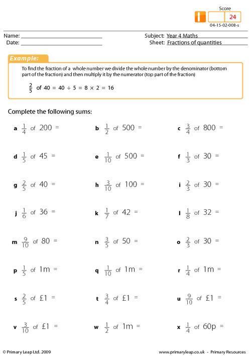Worksheet  10001294  Fractions Of Numbers Worksheets Year 3 – How