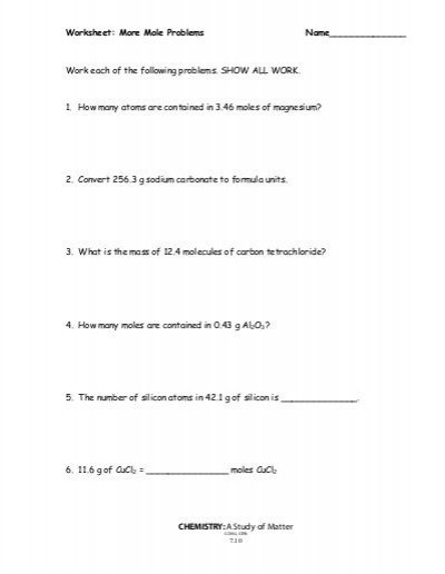 Worksheet  More Mole Problems