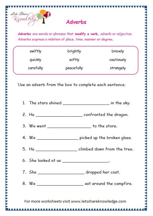 Worksheet On Adverbs Worksheets For All