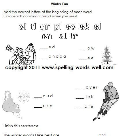 Worksheets For First Grade Spelling Practice