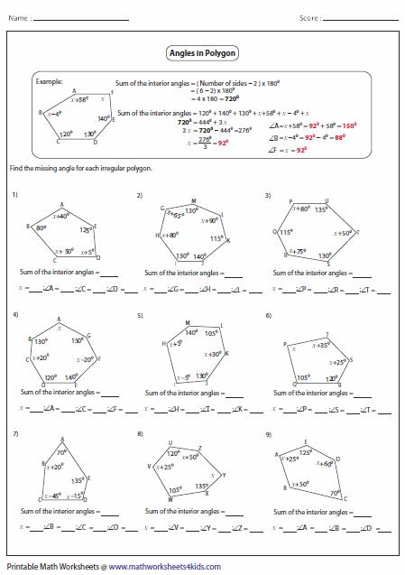 Worksheets Interior Angles Polygons