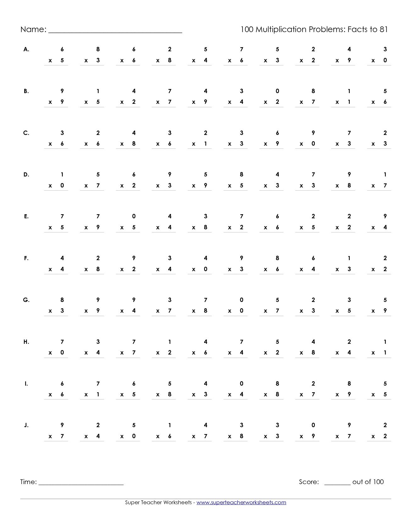 100 Multiplication Math Problem Worksheet  100  Best Free