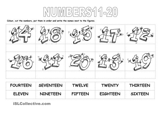 11 To 20 Worksheet For Kindergarten