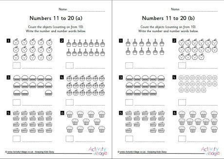 11 To 20 Worksheets Set 1