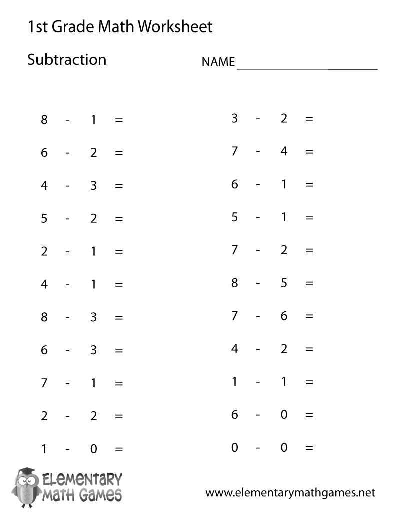 1st Grade Subtraction Worksheet Worksheets For All