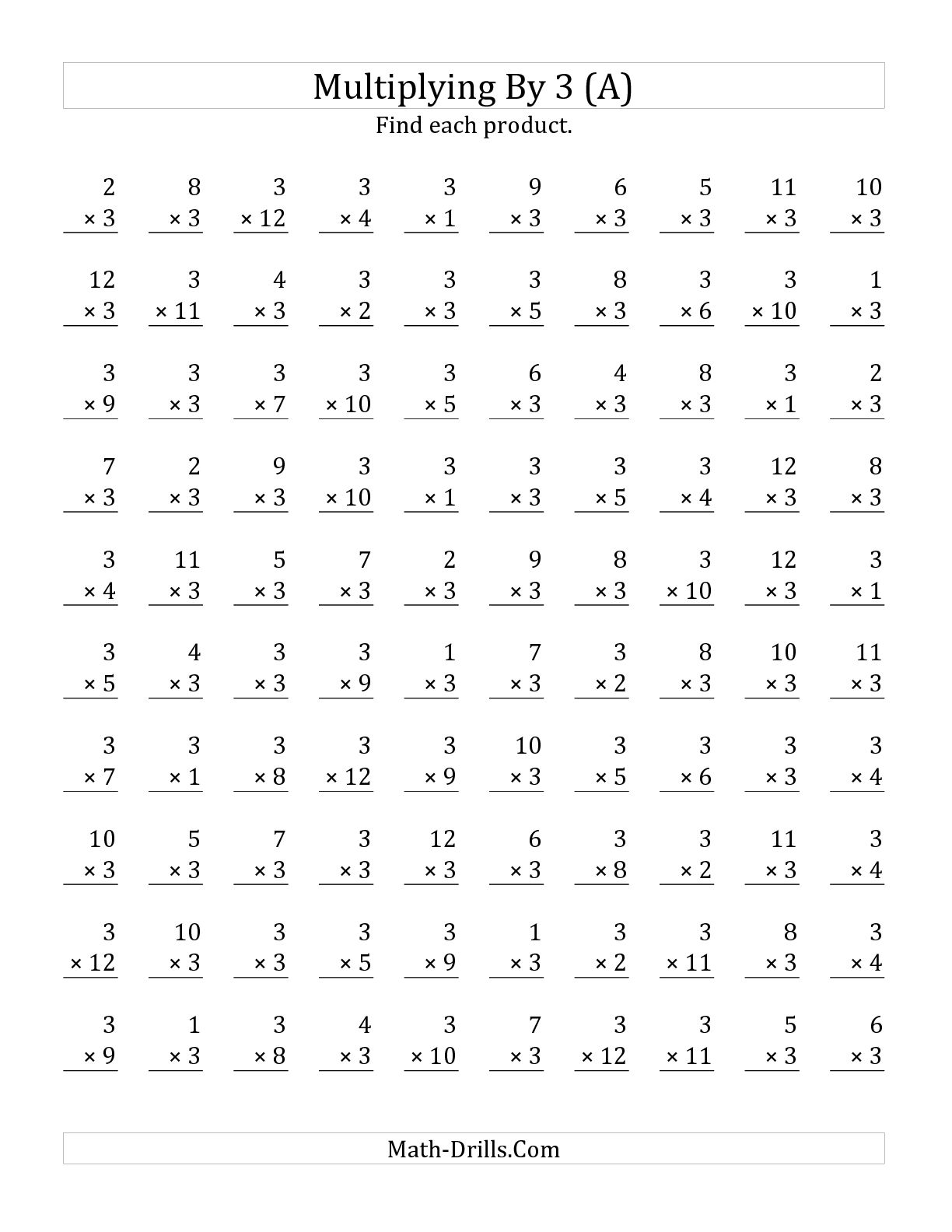3 X 3 Multiplication Worksheets The Best Worksheets Image