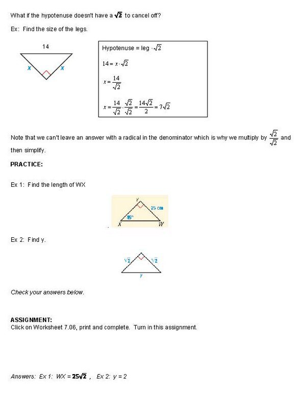 45 45 90 Triangles Worksheet Answers Special Right Triangles 45 45