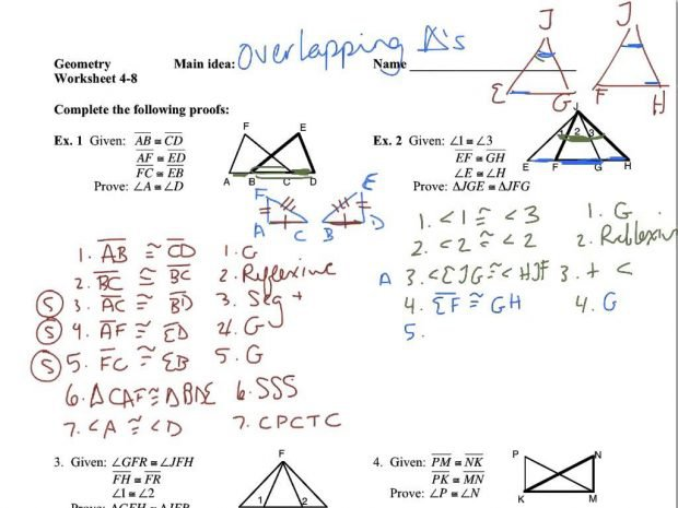 4 8 Overlapping Triangles Youtube Triangle Congruence Worksheet