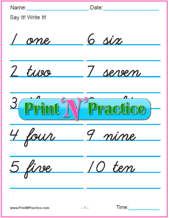 7+ Number Writing Worksheets  Numbers, Words, Pictures