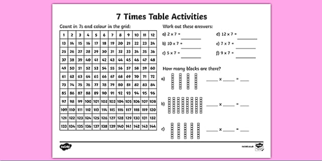 7 Times Table Worksheet   Activity Sheet