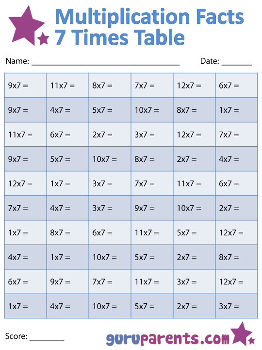 7 Times Tables Worksheet Worksheets For All