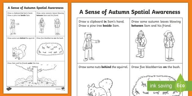 A Sense Of Autumn Spatial Awareness Worksheet   Activity Sheet