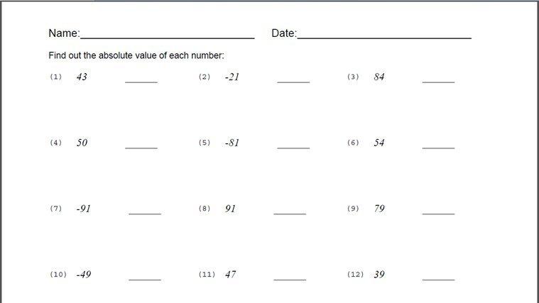 Absolute Value Worksheet Pdf Free Worksheets Ordering Numbers With