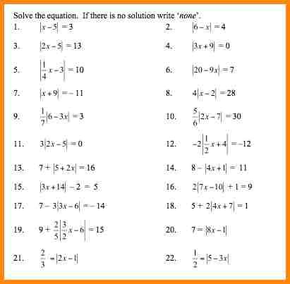 Absolute Values Worksheet Worksheets For All