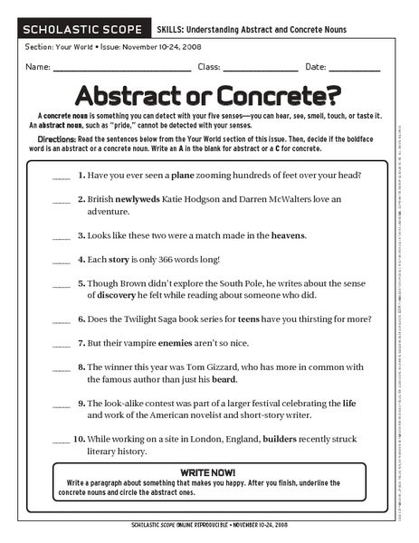 Abstract Or Concrete  Worksheet