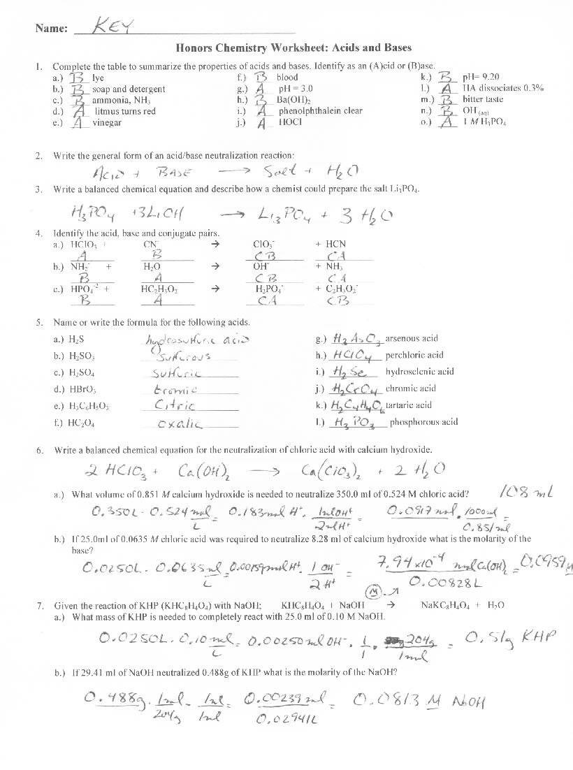 Acids Bases Student Worksheet The Best Worksheets Image Collection