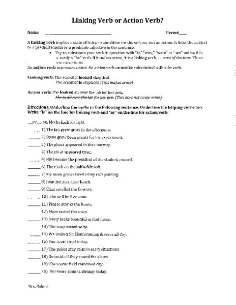 Action Verb And Linking Verb Worksheets Worksheets For All