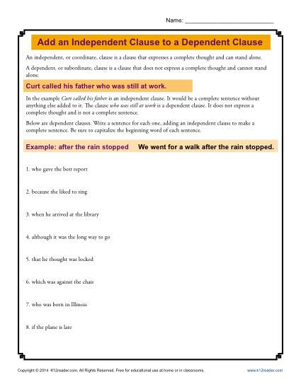 Add An Independent Clause To A Dependent Clause