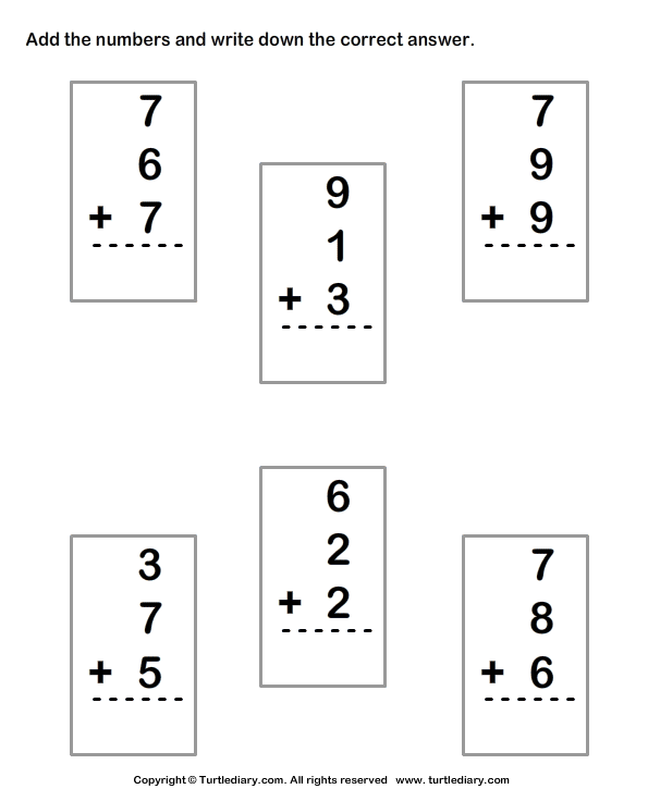 Adding Three Numbers Worksheet Worksheets For All