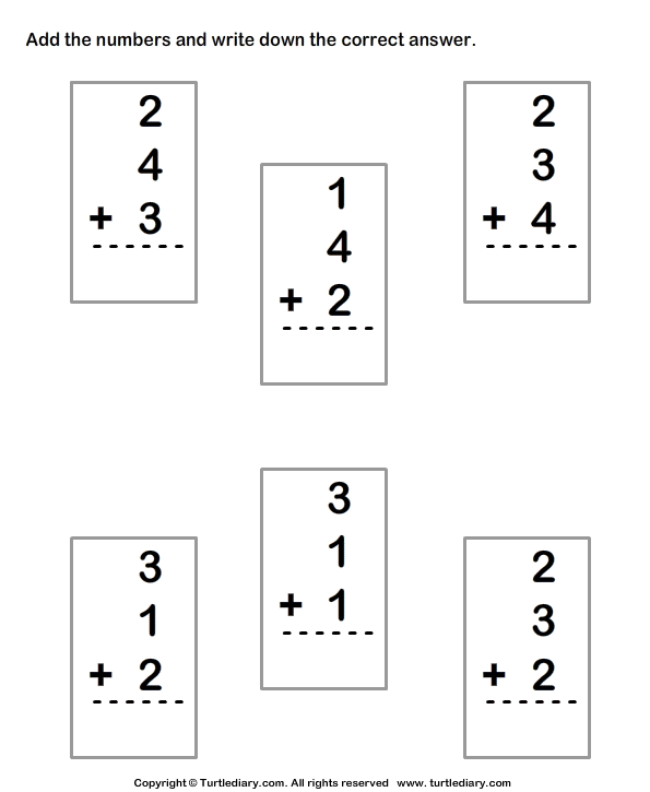Adding Three One Digit Numbers Sums Up To Ten Worksheet
