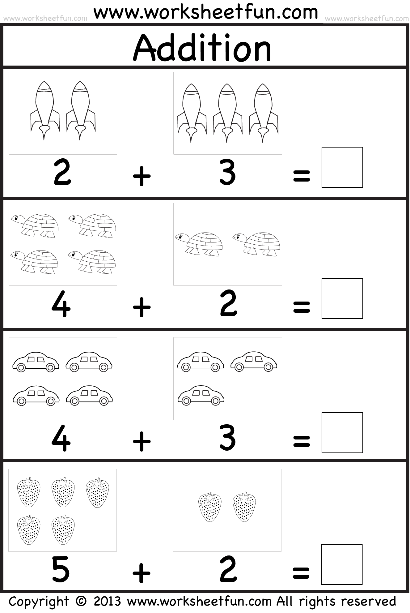 Addition Worksheets For Kindergarten With Pictures The Best