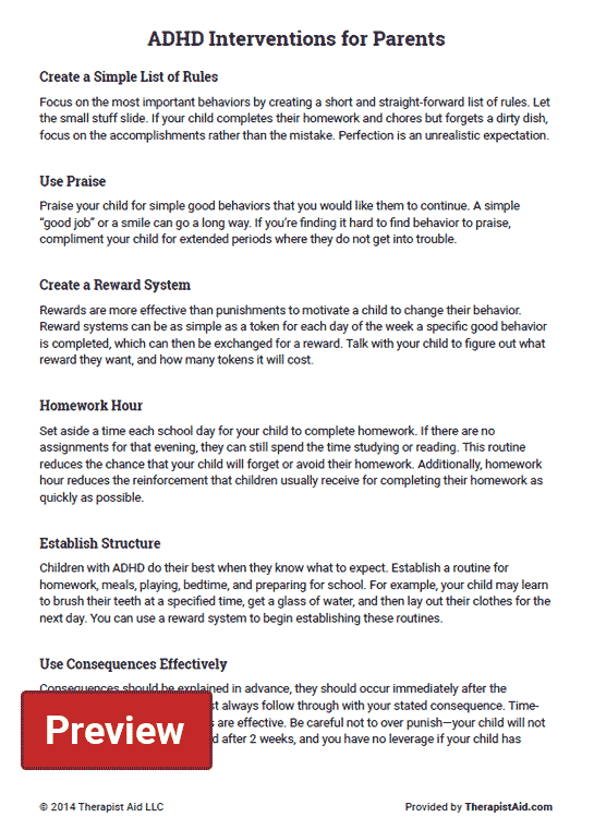 Adhd Interventions For Parents (worksheet)