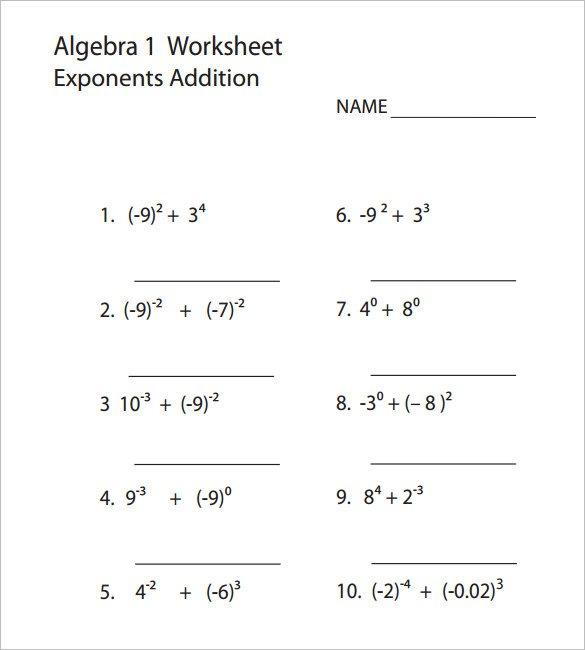 Algebra 1 Worksheets 10 College Algebra Worksheet Templates Free