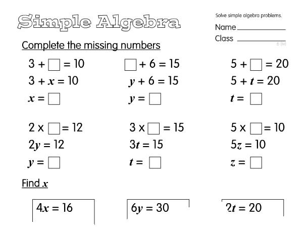 Algebra Worksheets Year 6 Free