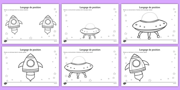 Alien Positional Language Worksheets French
