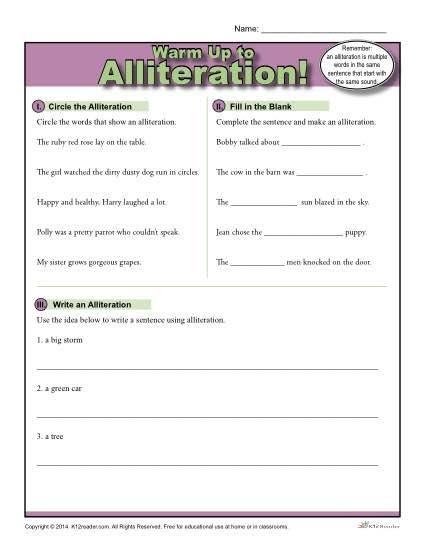 Alliteration Warm Up Activity