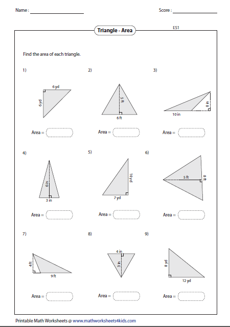 Area Of A Triangle Worksheet Triangles Worksheets Download
