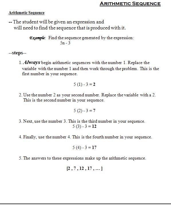 Arithmetic Sequence Worksheet  Worksheets  Tataiza Free Printable