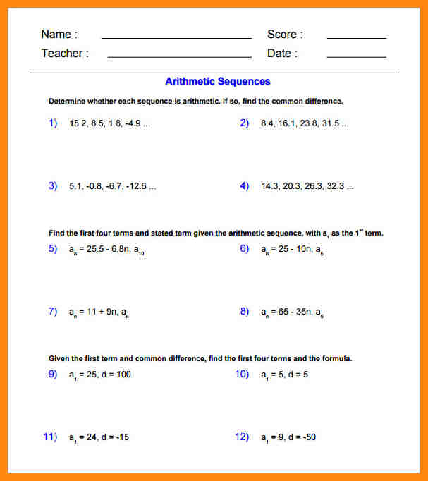 Arithmetic Sequence Worksheet Class 10 Math Worksheets And