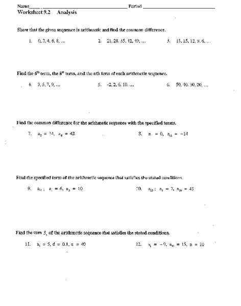 Arithmetic Sequences And Series Worksheet Worksheets For All