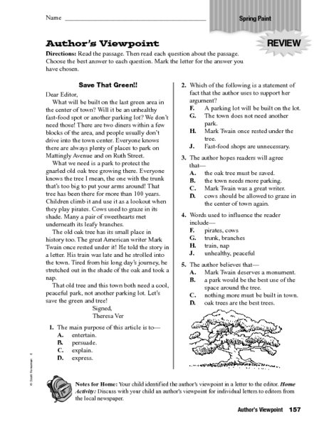 Author S Viewpoint Worksheets Worksheets For All