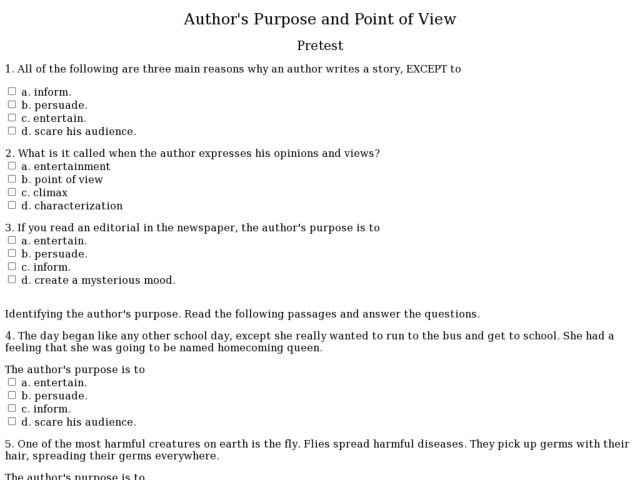 Authors Point Of View Worksheet Worksheets For All