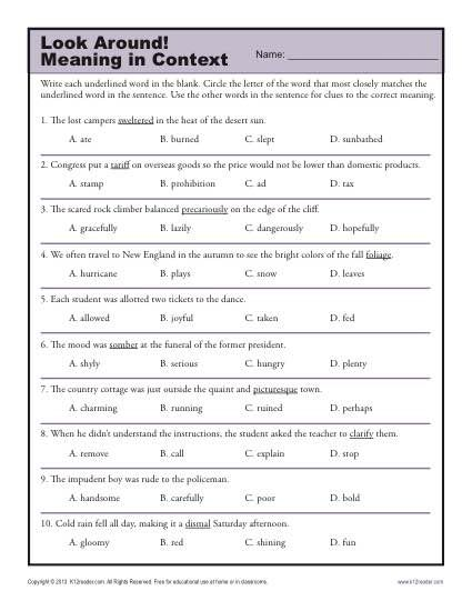 Awesome Collection Of Context Clues Worksheets 8th Grade Pdf For