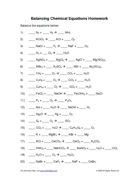 Balancing Chemical Equations Worksheet 1 20 – Streamclean Info