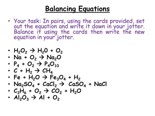 Balancing Equations Gcse Chemistry Worksheets